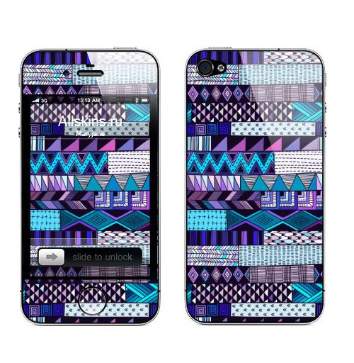 Наклейка на Телефон Apple iPhone 4S, 4 Полосатый узор. Синие тона,  купить в Москве – интернет-магазин Allskins, полоска, паттерн, дудлы, геометрия, розовый, синий, полосатый, графика