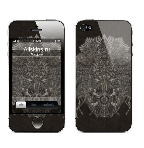 Наклейка на Телефон Apple iPhone 4S, 4 Великий Орёл,  купить в Москве – интернет-магазин Allskins, орел, олень, кости, череп, геометрия, графика, Крылья