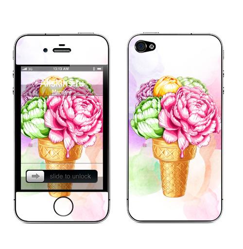 Наклейка на Телефон Apple iPhone 4S, 4 Любителям мороженного,  купить в Москве – интернет-магазин Allskins, нежность, акварель, мороженое, пионы, цветы