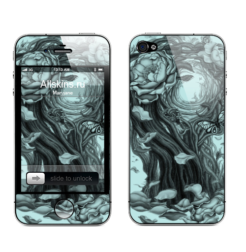 Наклейка на Телефон Apple iPhone 4S, 4 Сюрреалистическая девушка,  купить в Москве – интернет-магазин Allskins, девушка, розы, цветы, кошка, заяц, Алиса в стране чудес, иллюзия