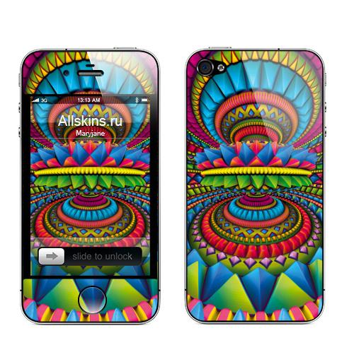 Наклейка на Телефон Apple iPhone 4S, 4 Фонтан,  купить в Москве – интернет-магазин Allskins, сюрреализм, треугольник, пирамида, геометрия, фантазия, хиппи, галлюцинации, кристалл, фантастика
