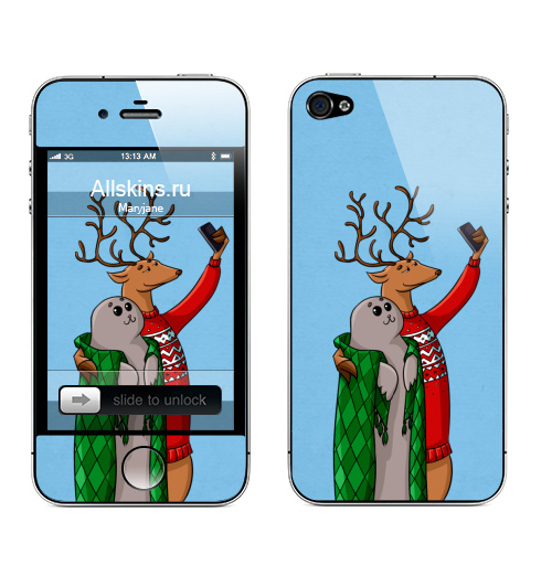 Наклейка на Телефон Apple iPhone 4S, 4 Тюлень  и олень,  купить в Москве – интернет-магазин Allskins, паттерн, заливка, олень, животные, пикник, депрессия, луна, Занавески, чувства