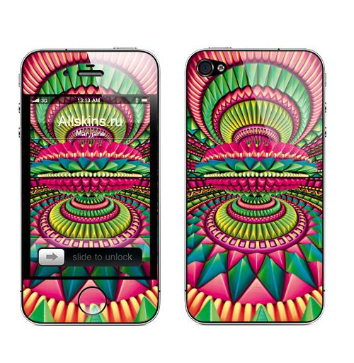 Наклейка на Телефон Apple iPhone 4S, 4 Фонтан - малина,  купить в Москве – интернет-магазин Allskins, ромбы, психоделика, фантастика, геометрия, паттерн, фракталы, хиппи, галлюцинации, фантазия