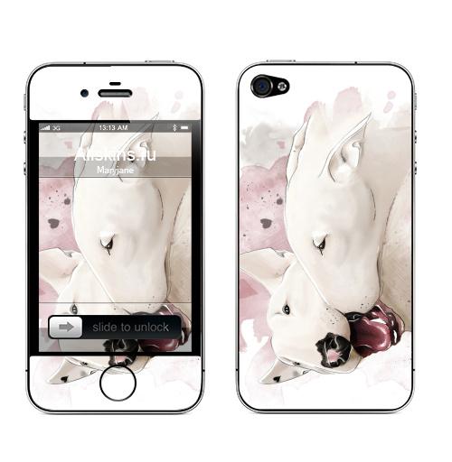 Наклейка на Телефон Apple iPhone 4S, 4 Влюбленные бультерьеры,  купить в Москве – интернет-магазин Allskins, крутые животные, собаки, бультерьер, любовь, сердце, акварель, нежно, поцелуй, животные, милые животные
