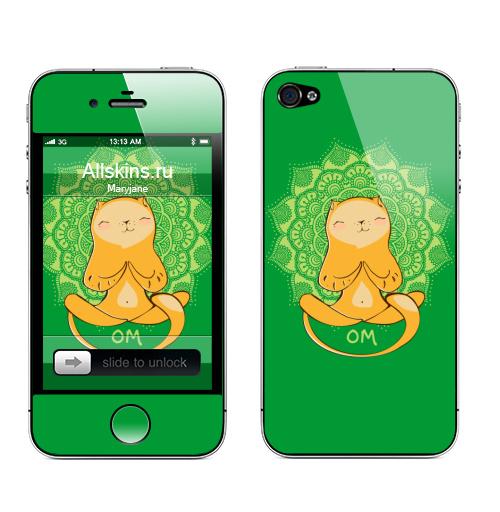 Наклейка на Телефон Apple iPhone 4S, 4 Ом..,  купить в Москве – интернет-магазин Allskins, 8 марта, кошка, мандала, весна, йога, спорт, улыбка