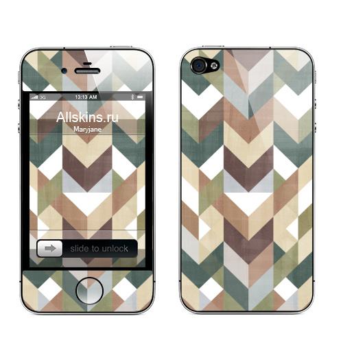 Наклейка на Телефон Apple iPhone 4S, 4 Темный шеврон,  купить в Москве – интернет-магазин Allskins, шеврон, паттерн, геометрия, горчичный, голубой, бордовый, зеленый