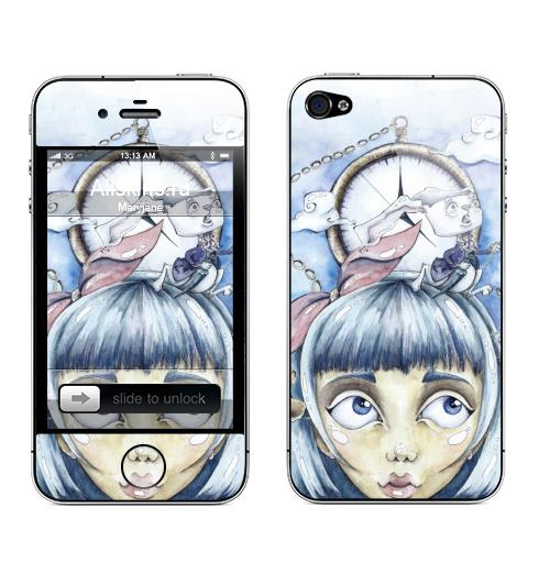 Наклейка на Телефон Apple iPhone 4S, 4 Знакомство с белым кроликом,  купить в Москве – интернет-магазин Allskins, Алиса в стране чудес, девушка, девочке, сказки, сказочный, индиго, синий, падение, акварель