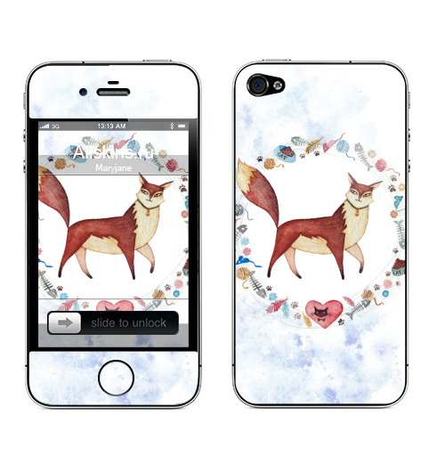 Наклейка на Телефон Apple iPhone 4S, 4 Котовасия,  купить в Москве – интернет-магазин Allskins, кошка, акварель, животные, любимец