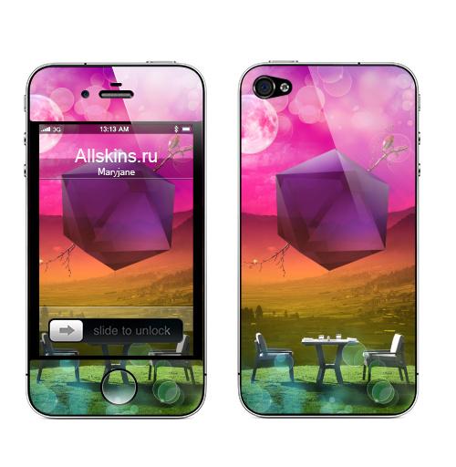 Наклейка на Телефон Apple iPhone 4S, 4 В ожидании праздника,  купить в Москве – интернет-магазин Allskins, для влюбленных, вечер, многогранник, геометрия, пейзаж