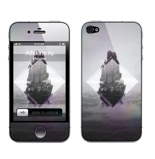 Наклейка на Телефон Apple iPhone 4S, 4 Кристальная скала,  купить в Москве – интернет-магазин Allskins, ромб, горы, небо, птицы, геометрия, призма