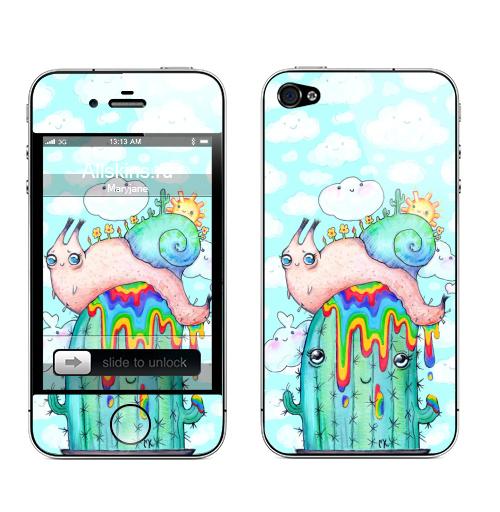 Наклейка на Телефон Apple iPhone 4S, 4 Улитка на кактусе,  купить в Москве – интернет-магазин Allskins, насекомые, радость, весна, облако, краски, яркий, радуга, горшок, кактусы