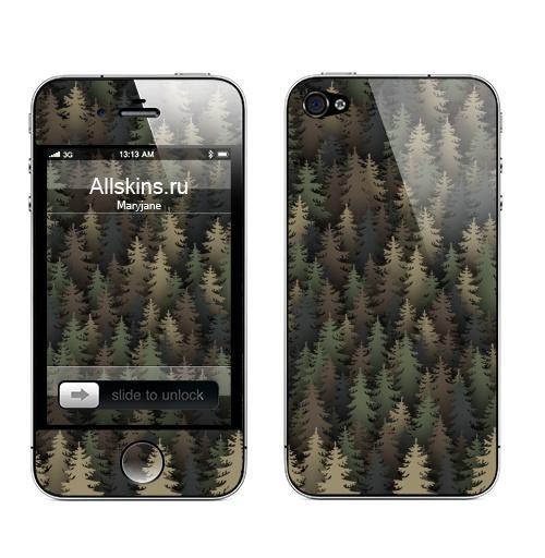 Наклейка на Телефон Apple iPhone 4S, 4 Лесной камуфляж,  купить в Москве – интернет-магазин Allskins, лес, природа, охота, военные, хаки, деревья, ель, новый год