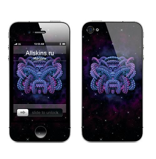 Наклейка на Телефон Apple iPhone 4S, 4 Ритуал,  купить в Москве – интернет-магазин Allskins, череп, космос, скелет, голова, психоделика, психоделичный, геометрия, фантастика, фантазия