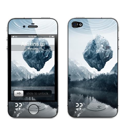 Наклейка на Телефон Apple iPhone 4S, 4 Будущее ,  купить в Москве – интернет-магазин Allskins, горы, камни, эвентумпремо, футуризм, будущее, река, земля, лес