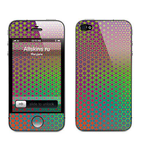 Наклейка на Телефон Apple iPhone 4S, 4 Гексанутый паттерн,  купить в Москве – интернет-магазин Allskins, психоделика, цветы, узор, паттерн, геометрия