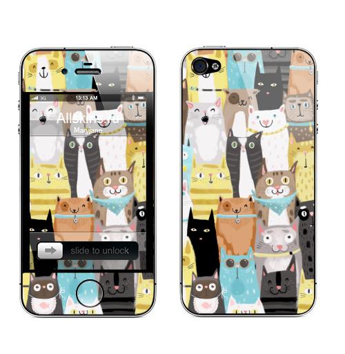 Наклейка на Телефон Apple iPhone 4S, 4 Многокотов,  купить в Москве – интернет-магазин Allskins, кошка, запечатка, весна, яркий, веселый