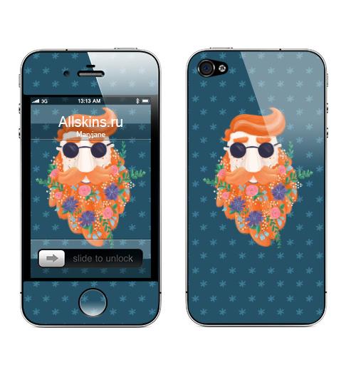Наклейка на Телефон Apple iPhone 4S, 4 Цветущий бородач,  купить в Москве – интернет-магазин Allskins, борода, мужские, парень, рыжии, рыжая, цветы, весна, красота