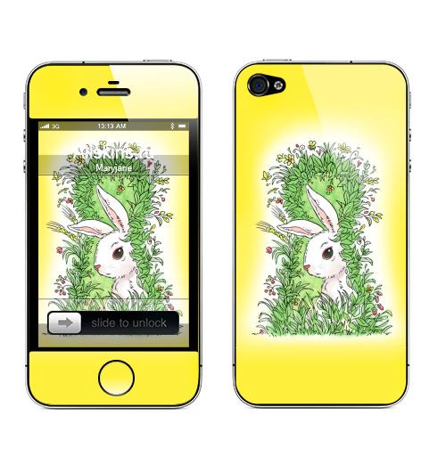 Наклейка на Телефон Apple iPhone 4S, 4 Солнечный кролик,  купить в Москве – интернет-магазин Allskins, животные, цветы, заяц, лес, лето, растение, позитив, иллюстация, белый