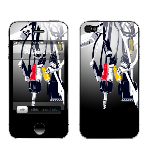 Наклейка на Телефон Apple iPhone 4S, 4 Башня,  купить в Москве – интернет-магазин Allskins, черный, гики, джойстик, графика, желтый