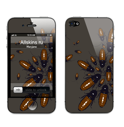 Наклейка на Телефон Apple iPhone 4S, 4 Обед нагишом,  купить в Москве – интернет-магазин Allskins, таракан, монстры, насекомые, паттерн, текстура