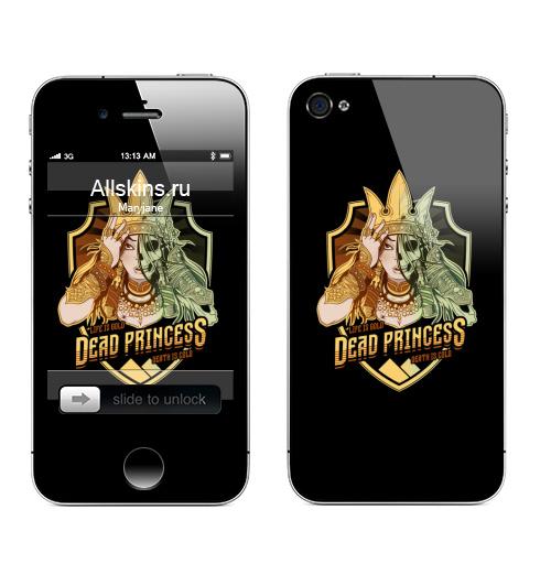 Наклейка на Телефон Apple iPhone 4S, 4 Мертвая царевна,  купить в Москве – интернет-магазин Allskins, пауки, Курган, смерть, девушка, череп, Легенды, золото, зомби, Мифы