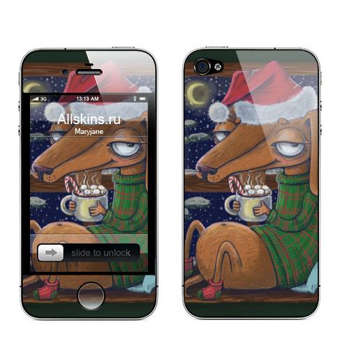 Наклейка на Телефон Apple iPhone 4S, 4 Уютный новогодний пес,  купить в Москве – интернет-магазин Allskins, нгднгд, новый год, собаки, такса, какао, окно, зима, уют, уютно