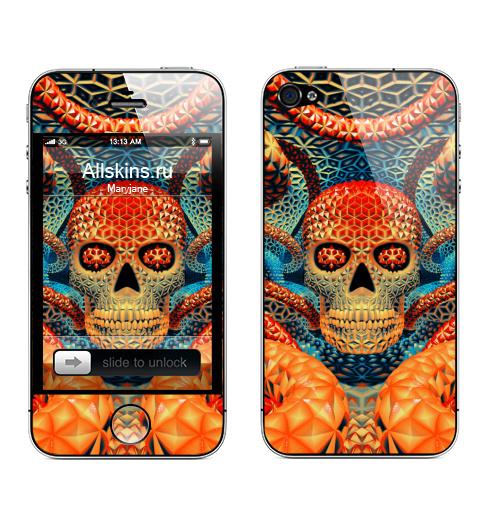 Наклейка на Телефон Apple iPhone 4S, 4 Бдд  - оранж,  купить в Москве – интернет-магазин Allskins, психоделика, череп, чудо, магия, узор, фракталы, оранжевый, геометрия, пространство