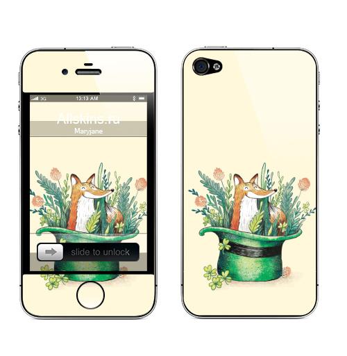 Наклейка на Телефон Apple iPhone 4S, 4 Ирландский лис,  купить в Москве – интернет-магазин Allskins, лиса, Ирландия, клевер, шляпа