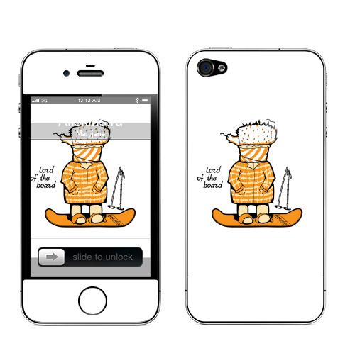 Наклейка на Телефон Apple iPhone 4S, 4 Lord of the board,  купить в Москве – интернет-магазин Allskins, надписи на английском, прикольные надписи, лыжи, чемпион, мужские, спорт, надписи, сноуборд, оранжевый, 300 Лучших работ