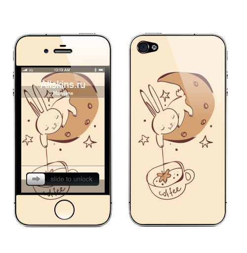 Наклейка на Телефон Apple iPhone 4S, 4 Звездный кофе ,  купить в Москве – интернет-магазин Allskins, звезда, космос, чай и кофе, луна, заяц, магия, прикол