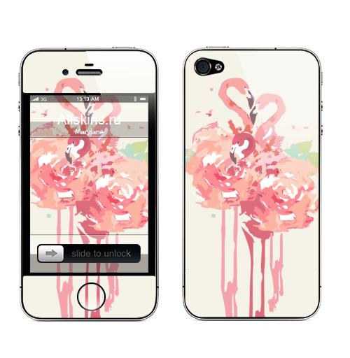 Наклейка на Телефон Apple iPhone 4S, 4 Три розовых фламинго ,  купить в Москве – интернет-магазин Allskins, фламинго, птицы, цветы, спорта, животные, женский, подарки, прикольные_рисунки