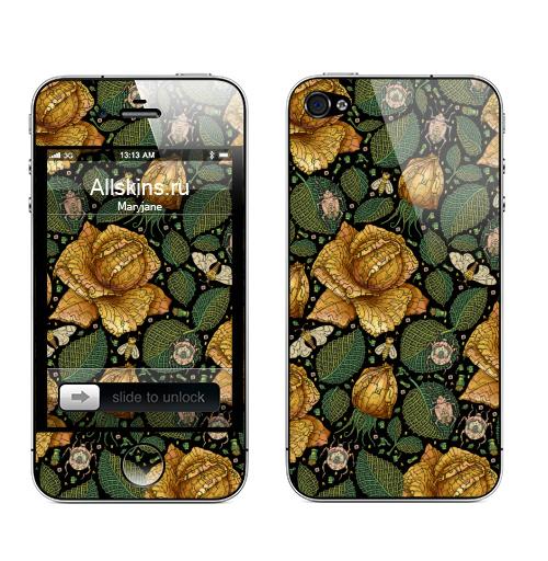 Наклейка на Телефон Apple iPhone 4S, 4 Fantastic flower,  купить в Москве – интернет-магазин Allskins, зеленый, желтый, Цветочек, цвет, цветы, фантазия, фантастика, иллюстация