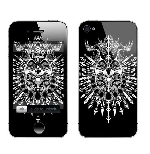 Наклейка на Телефон Apple iPhone 4S, 4 Черепокот второй,  купить в Москве – интернет-магазин Allskins, одноцвет, хелоуин, хэллоуин, графика, оккультизм, хоррор, черно-белое, череп, кошка