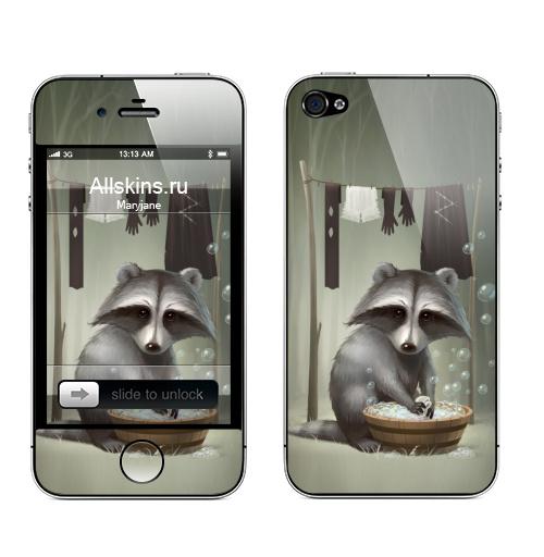 Наклейка на Телефон Apple iPhone 4S, 4 Енот полоскун,  купить в Москве – интернет-магазин Allskins, енот, стирка, мыльный, пузырьки, лес, животные, прикол