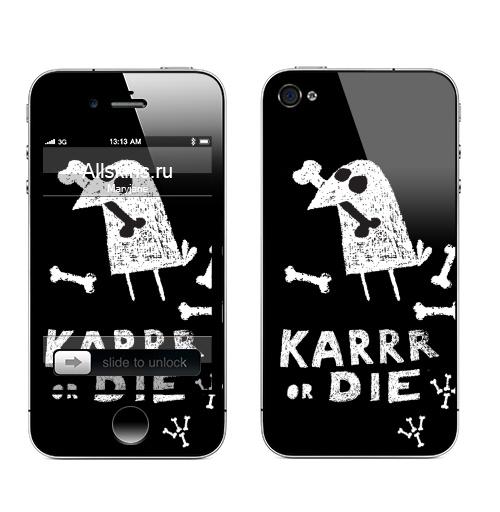 Наклейка на Телефон Apple iPhone 4S, 4 Deadcrow,  купить в Москве – интернет-магазин Allskins, надписи, графика, ворона, кости, птицы, скелет, хэллоуин, череп, черно-белое, черный, english