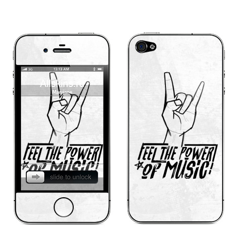 Наклейка на Телефон Apple iPhone 4S, 4 Feel the power of music,  купить в Москве – интернет-магазин Allskins, музыка, rock, панк, Англия
