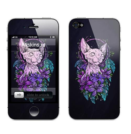 Наклейка на Телефон Apple iPhone 4S, 4 Сфинкс в лилиях,  купить в Москве – интернет-магазин Allskins, кошка, Сфинкс, цветы, ловецснов, перья, лилии, синий, яркий