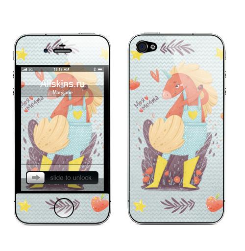 Наклейка на Телефон Apple iPhone 4S, 4 Единорог в желтых сапожках,  купить в Москве – интернет-магазин Allskins, единорог, мечта, мило, лето, весна, детские, сердечки, девушка, девочке, розовый