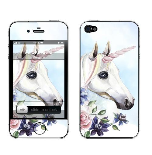 Наклейка на Телефон Apple iPhone 4S, 4 Единорог в цветах,  купить в Москве – интернет-магазин Allskins, единорог, цветы, акварель, васильки, василек, розовый, голубой, пастельный, лошадь