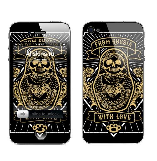 Наклейка на Телефон Apple iPhone 4S, 4 Матрешка с гранатой,  купить в Москве – интернет-магазин Allskins, хулиган, матрёшка, взрыв, надписи, узор, кастет, Россия