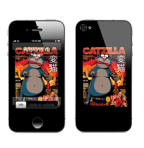 Наклейка на Телефон Apple iPhone 4S, 4 КОТЗИЛЛА,  купить в Москве – интернет-магазин Allskins, годзилла, кино, персонажи, котята, кошка, ужасный, пародия, прикол, приключения
