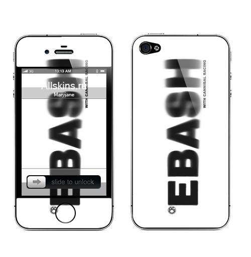 Наклейка на Телефон Apple iPhone 4S, 4 Ебаш,  купить в Москве – интернет-магазин Allskins, черно-белое, ебаш, надписи, мат