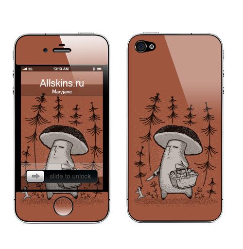 Наклейка на Телефон Apple iPhone 4S, 4 Грибы пошли,  купить в Москве – интернет-магазин Allskins, прикол, грибы, 300 Лучших работ