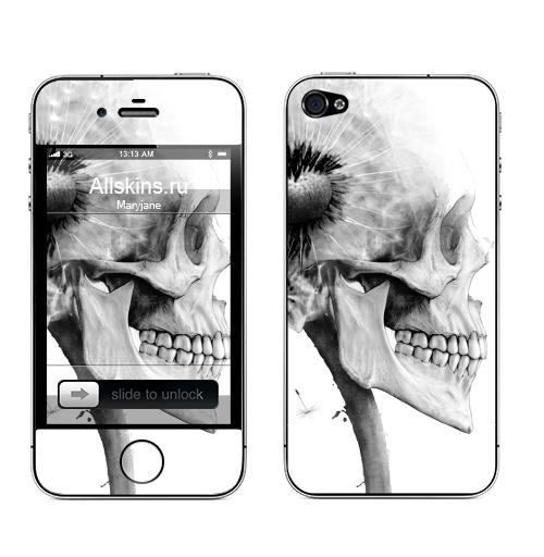 Наклейка на Телефон Apple iPhone 4S, 4 ОДУВАНЧ,  купить в Москве – интернет-магазин Allskins, розыгрыш, прикол, череп, скелет, цветы, идея, металл, rock