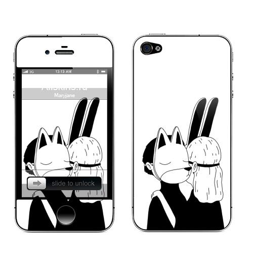 Наклейка на Телефон Apple iPhone 4S, 4 Лис и зайка,  купить в Москве – интернет-магазин Allskins, черное и белое, заяц, лиса, любовь