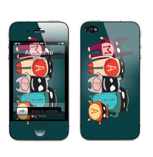 Наклейка на Телефон Apple iPhone 4S, 4 The mafia,  купить в Москве – интернет-магазин Allskins, желтый, голубой, черный, детские, маска, мафия, монстры