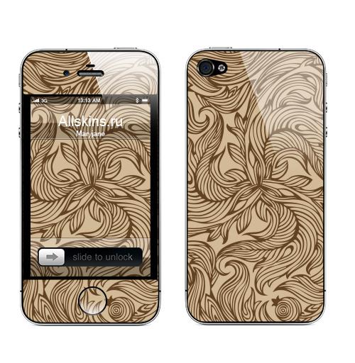 Наклейка на Телефон Apple iPhone 4S, 4 Растительный орнамент,  купить в Москве – интернет-магазин Allskins, весна, графика, лес, листья, паттерн