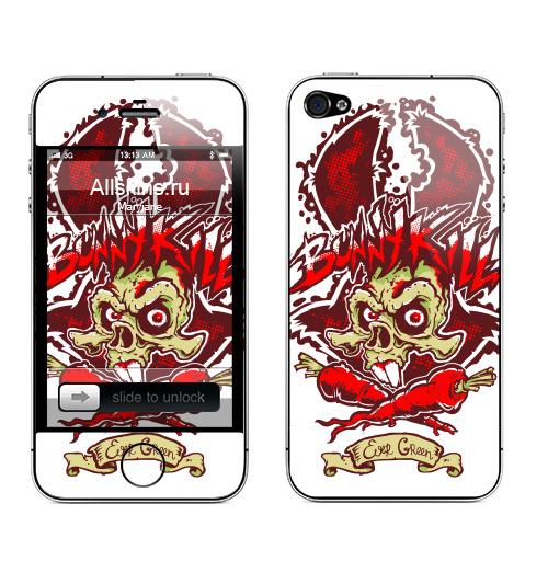 Наклейка на Телефон Apple iPhone 4S, 4 Кролик убивай убивай,  купить в Москве – интернет-магазин Allskins, заяц, морковка, монстры, татуировки, мусор, хэллоуин, череп