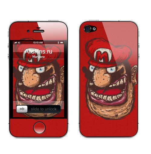 Наклейка на Телефон Apple iPhone 4S, 4 Mario,  купить в Москве – интернет-магазин Allskins, компьютер, алкоголь, кепка, персонажи, мужик