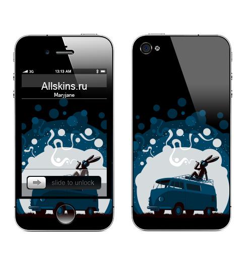 Наклейка на Телефон Apple iPhone 4S, 4 Night Scene '11,  купить в Москве – интернет-магазин Allskins, черный, Фольксваген, ночь, дым, заяц, синий